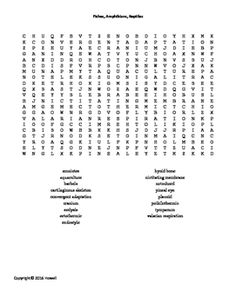 Respiratory and Excretory Systems Word Search for Middle