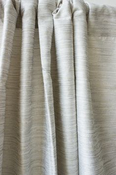 Raw Silk Curtains In Cream With Large White Panels At Bottom