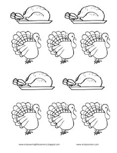 Pre-K students use a number key to color in a #turkey with