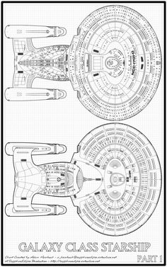 Black and white schematic cut-away of Nebula-class