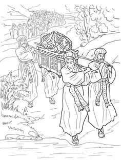 Joshua and the fall of Jericho. Bible coloring pages