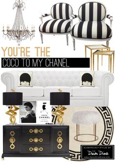Black And White Gold Room Inspired By Coco Chanel The Decor Diva Http