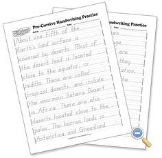 Handwriting practice pages for lefties (D'Nealian & Zaner