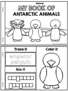 Free cut and paste activity for labeling penguin parts