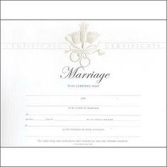 blank marriage certificate template for Microsoft Word. #