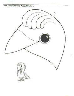 Umbrella Bird Puppet Paper Bag Sketch Coloring Page