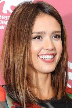 Long Bob Hairstyles With Side Swept Bangs Jessica Alba Hair Long