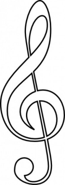 Treble clef pattern. Use the printable outline for crafts