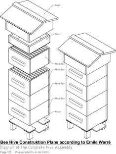 Plans and dimensions for a standard honey bee hive