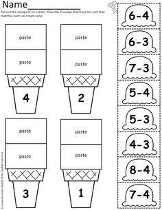 Addition to 10 differentiated worksheets that show