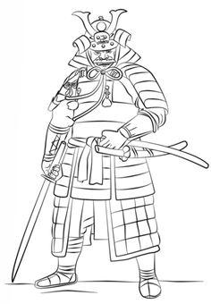 Male Samurai Mask to Color Printable Mask, free to