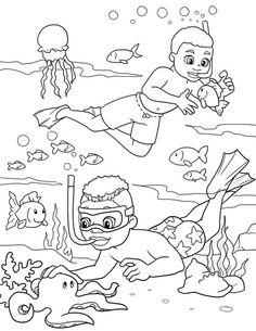 Printable coral reef coloring page. Free PDF download at