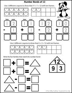 Free math worksheets for Kindergarten or Grade 1. Number