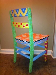 Hand Painted Distressed Vintage Wooden Kids Chair