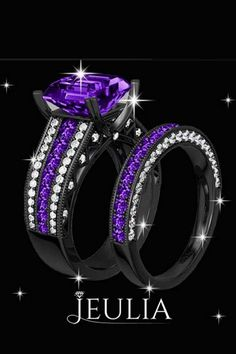 Wedding Rings With Engraved Black And Purple Wedding Ring Set