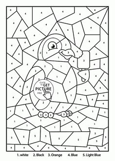 Color by Number Dolphin coloring page for kids, education