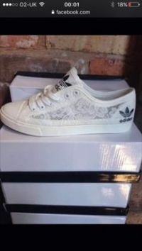 shoes adidas dentelle white blanc chaussures basket socks ...