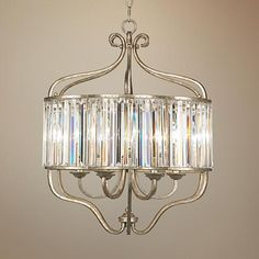 Illuminate Your Decor With This Transitional Antique Soft Silver And Crystal Chandelier From The Vienna Full