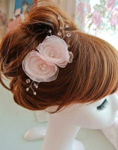 pink flower hair piece bridal wedding hair by bewitchinglace