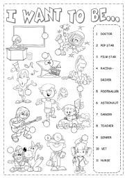 English Worksheets: KIDS AND JOBS PICTIONARY (B&W VERSION