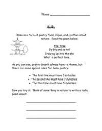 Spring Haiku Poetry Packet- Worksheet and Templates ...