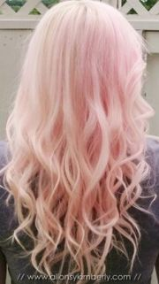 dirty blonde hair with pink tips