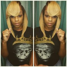 Quick Weave Bob With Platinum Blonde Bangs Feathered Back