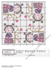 Kokeshi biscornu 2 | Biscornu patterns | Pinterest | Watches
