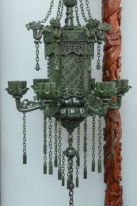 Carved wooden vintage dragon lamp with pagoda shade, all