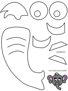 Elephant ear pattern. Use the printable outline for crafts