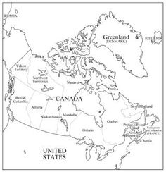 This printable map of Canada has blank lines on which
