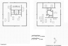 Farnsworth House, 1951 Drawings of Elevations and