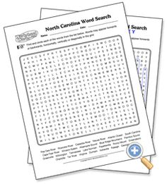 North Carolina Wordsearch, Crossword Puzzle, and More