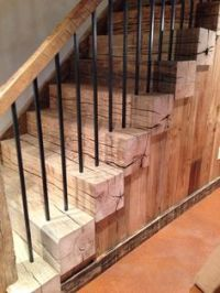 Stairs made from large beams   Things to make   Pinterest ...