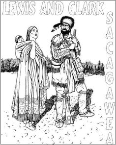 Sacagawea Coloring Page Activity or Poster with Mini