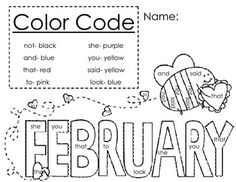 1000+ images about Color by Sight Word on Pinterest