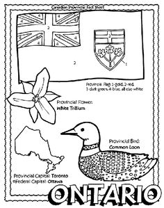 Canadian Provinces colouring page with province symbols