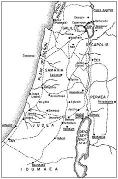 Map of the provinces of Galilee, Samaria and Judea at the