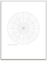 This letter-sized polar graph paper has 15-degree angles