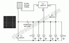 Solar powered led light circuit diagram and schematic