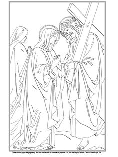 Coloring Page for the Eighth Station: The women of