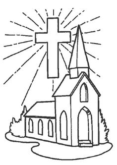 Stained Glass, Cross, and Praying Hands Coloring Page
