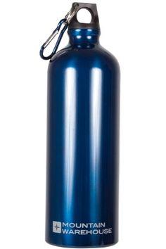 mountain warehouse water bottle litre camping metallic aluminium drinking drinks flask karabiner