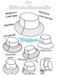 ULTIMATE BUCKET HAT Pattern! Newborn to Adult. Brims