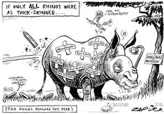 Zapiro depicts Jacob Zuma in the shadow of his corruption