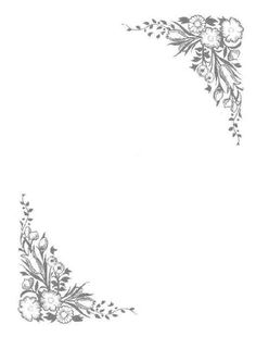 Printable black and white flower border. Use the border in