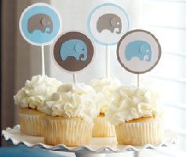 Baby Shower Decoration Boy Elephant Cupcake Toppers Blue Gray On Etsy