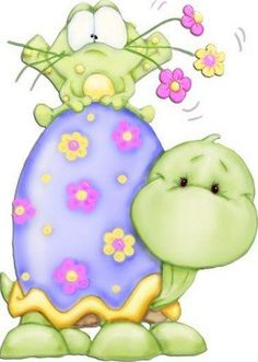 cute spring clip art frog holding