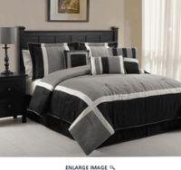 Twin Red Grey Black Microsuede Stripe Comforter Bedding