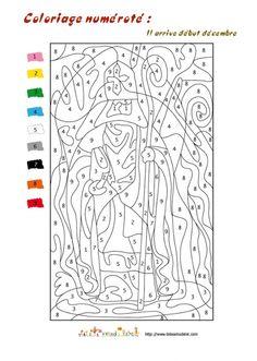 Jeu de coloriage numéroté : chiffres romains et mer n°2